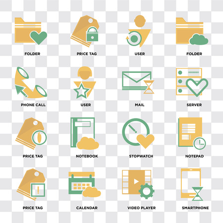 Conjunto de 16 iconos como Smartphone, reproductor de vídeo, calendario, etiqueta de precio, Bloc de notas, carpeta, llamada telefónica, correo en píxeles de fondo transparente perfecto Ilustración de vector