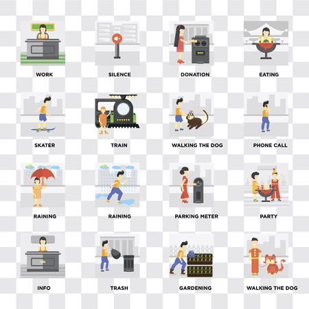 Set Of 16 icons such as Walking the dog, Gardening, Trash, Info, Party, Work, Skater, Raining on transparent background, pixel perfect