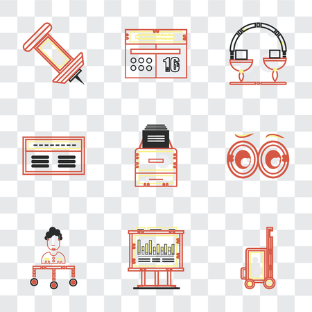 Set Of 9 simple transparency icons such as Vacations, Bars chart, Boss, Looking, Office material, Banker, Measuring, Calendar, Push pin, can be used for mobile, pixel perfect vector icon pack on