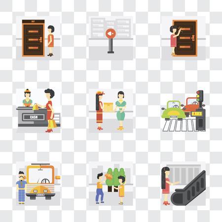 Ensemble de 9 icônes de transparence simples telles que Escalator, Helping, Driver, Piéton, Courier, Shopping, Knocking, Silence, Exit, peuvent être utilisées pour le mobile, pack d'icônes vectorielles parfaites en pixel sur transparent