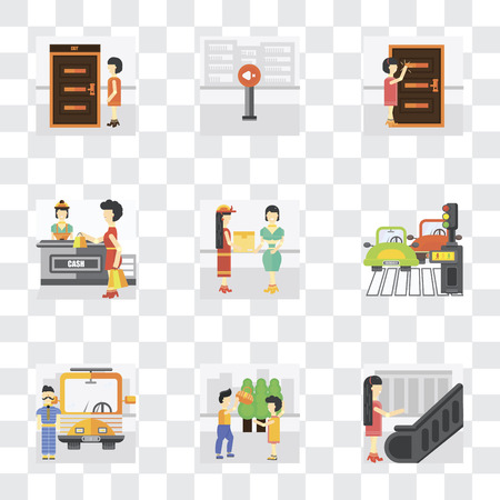 Set Of 9 simple transparency icons such as Escalator, Helping, Driver, Pedestrian, Courier, Shopping, Knocking, Silence, Exit, can be used for mobile, pixel perfect vector icon pack on transparent
