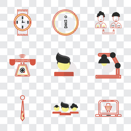 Set Of 9 simple transparency icons such as On, Network, Accessory, Studying, Boss, Ringing, Collaboration, Customer service, Watches, can be used for mobile, pixel perfect vector icon pack on Banque d'images - 111751877