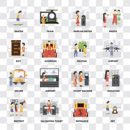 Set Of 16 icons such as Pet, Entrance, Validating ticket, Protest, Donation, Skater, Exit, Driver, Helping on transparent background, pixel perfect