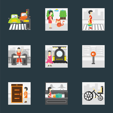 Set Of 9 simple icons such as Bicycle, Airport, Exit, Silence, Train, Validating ticket, Pedestrian, Walking the dog, can be used for mobile, pixel perfect vector icon pack on black
