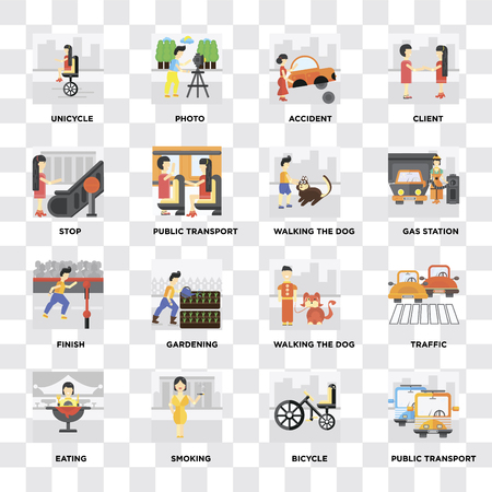 Set Of 16 icons such as Public transport, Bicycle, Smoking, Eating, Traffic, Unicycle, Stop, Finish, Walking the dog on transparent background, pixel perfect