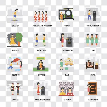 Ensemble de 16 icônes telles que frapper, cinéma, parcmètre, serveur, parc, patineur, ivre, aider, don sur fond transparent, pixel parfait