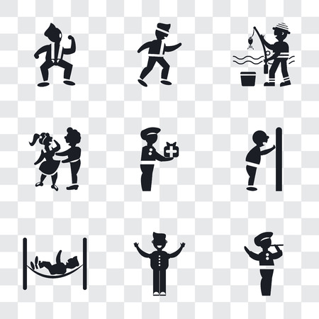 Set Of 9 simple transparency icons such as Man playing a flute, with open arms, hammock relaxing, pushing door his body, Woman carrying, Hugging, Fisher fishing, Karate fighter,