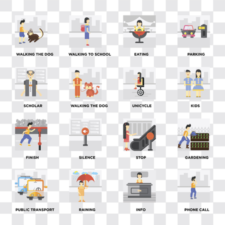 Set Of 16 icons such as Phone call, Info, Raining, Public transport, Gardening, Walking the dog, Scholar, Finish, Unicycle on transparent background, pixel perfect