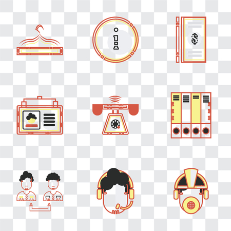 Set Of 9 simple transparency icons such as Worker, Customer service, Collaboration, Office material, Ringing, Id card, Dollar, Accessory, can be used for mobile, pixel perfect Banque d'images - 111751982