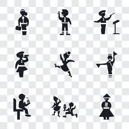 Set Of 9 simple transparency icons such as Chinese man, Boy Giving Flowers to his Girlfriend, Sitting man drinking a soda, Flag semaphore language, Gymnast Girl, Woman looking by spyglass,