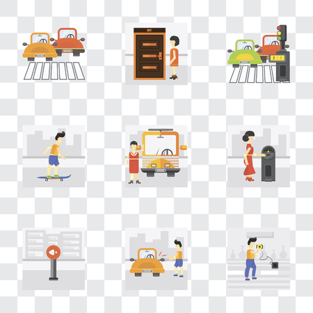 Set Of 9 simple transparency icons such as Charging, Locked car, Silence, Parking meter, Bus stop, Skater, Pedestrian, Exit, Traffic, can be used for mobile, pixel perfect vector icon pack on