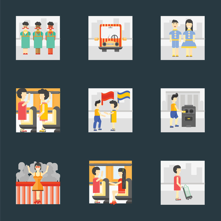 Set Of 9 simple icons such as Shopper, Public transport, Winner, Voting, Waving flag, Occupant, Kids, , can be used for mobile, pixel perfect vector icon pack on black background Ilustração