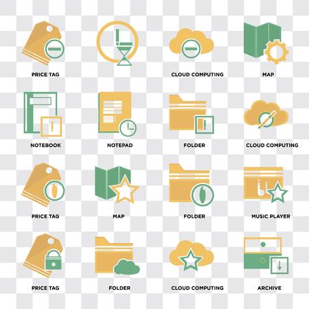 Conjunto de 16 iconos como archivo, computación en la nube, carpeta, etiqueta de precio, reproductor de música, portátil en píxel de fondo transparente perfecto Ilustración de vector