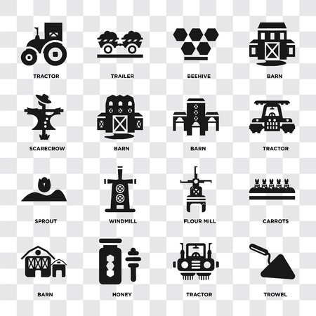 Set Of 16 icons such as Trowel, Tractor, Honey, Barn, Carrots, Scarecrow, Sprout on transparent background, pixel perfect