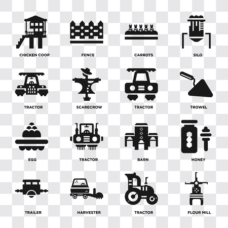 Set Of 16 icons such as Flour mill, Tractor, Harvester, Trailer, Honey, Chicken coop, Egg on transparent background, pixel perfect 矢量图像