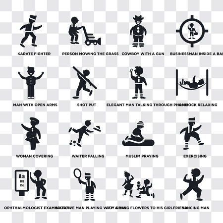 Set Of 16 transparent icons such as Dancing Man, Boy Giving Flowers to his Girlfriend, Sportive man playing with a ball, Shot Put, web UI icon pack, pixel perfect 向量圖像