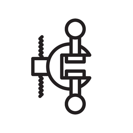 Clamp icon vector isolated on white background, Clamp transparent sign , line symbol or linear element design in outline style