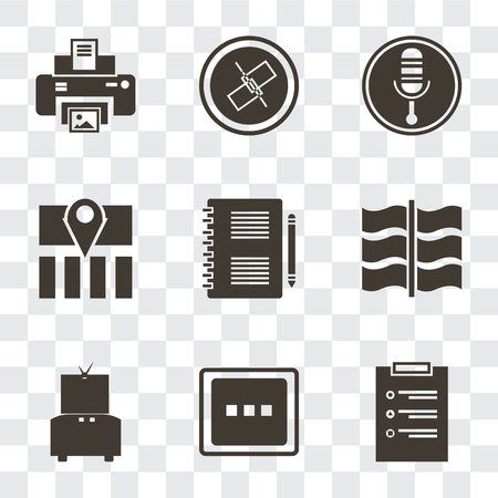 Set Of 9 simple transparency icons such as List, More, Television, Flag, Notepad, Map, Microphone, Unlink, Print, can be used for mobile, pixel perfect vector icon pack on transparent background Illustration