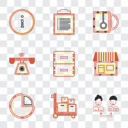 Set Of 9 simple transparency icons such as Collaboration, Packing, Finances, On, Office material, Ringing, Hot drink, Text, Customer service, can be used for mobile, pixel perfect vector icon pack on Banque d'images - 111752100