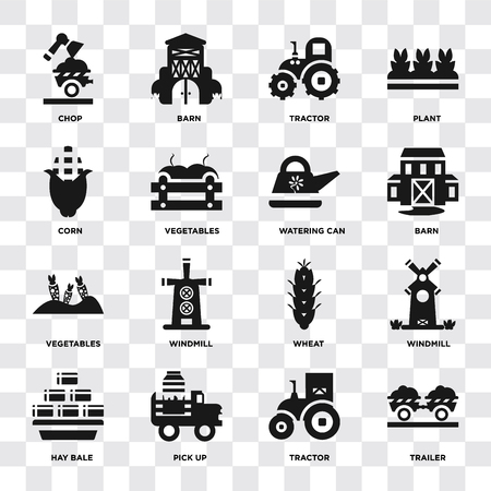 Set Of 16 icons such as Trailer, Tractor, Pick up, Hay bale, Windmill, Chop, Corn, Vegetables, Watering can on transparent background, pixel perfect