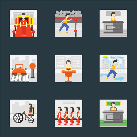 Set Of 9 simple icons such as Work, Pregnant priority, Bicycle, Raining, Reading, Stop, Info, Finish, Doorman, can be used for mobile, pixel perfect vector icon pack on black background Stock Illustratie