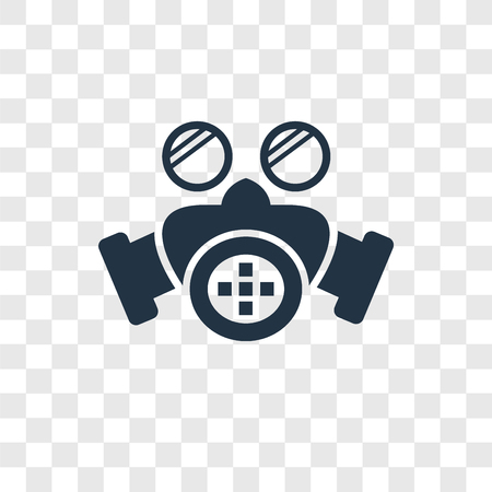 Gas mask vector icon isolated on transparent background, Gas mask logo concept