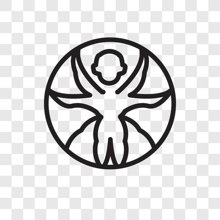 Vitruvian man vector icon isolated on transparent background, Vitruvian man logo concept