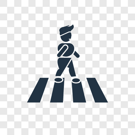 crossing street vector icon isolated on transparent background, crossing street logo concept