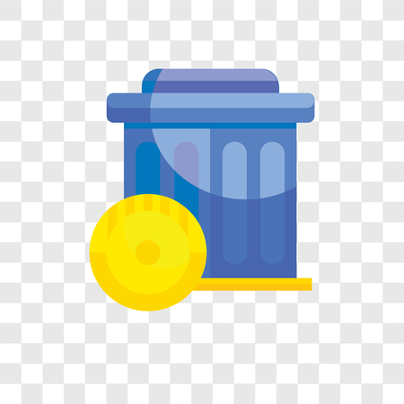 Trash vector icon isolated on transparent background, Trash logo concept Vectores