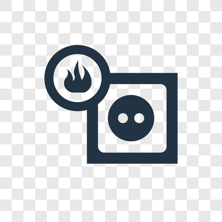 Electric socket on fire vector icon isolated on transparent background, Electric socket on fire logo concept Illustration