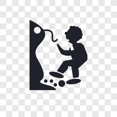 Hombre cayendo de un icono de vector de precipicio aislado sobre fondo transparente, hombre cayendo de un concepto de logo de precipicio