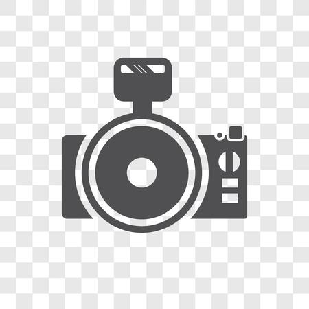 Icono de vector de cámara de fotos aislado sobre fondo transparente, concepto de logo de cámara de fotos
