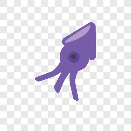 Squid vector icon isolated on transparent background, Squid logo concept