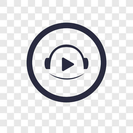 Video player vector icon isolated on transparent background, Video player logo concept Vettoriali