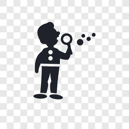 Man making soap bubbles vector icon isolated on transparent background, Man making soap bubbles logo concept