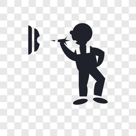 Man throwing a dart vector icon isolated on transparent background, Man throwing a dart logo concept