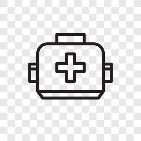 First aid box vector icon isolated on transparent background, First aid box logo concept Illustration