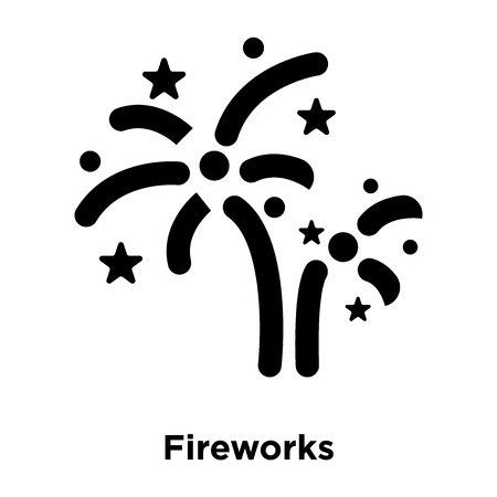 Fireworks icon vector isolated on white background, logo concept of Fireworks sign on transparent background, filled black symbol Illusztráció