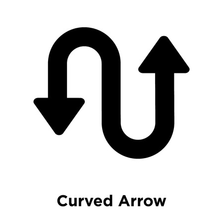 Curved Arrow icon vector isolated on white background, logo concept of Curved Arrow sign on transparent background, filled black symbol Иллюстрация