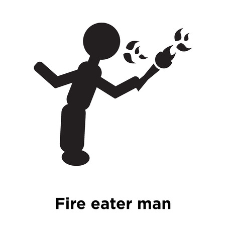 Fire eater man icon vector isolated on white background, logo concept of Fire eater man sign on transparent background, filled black symbol