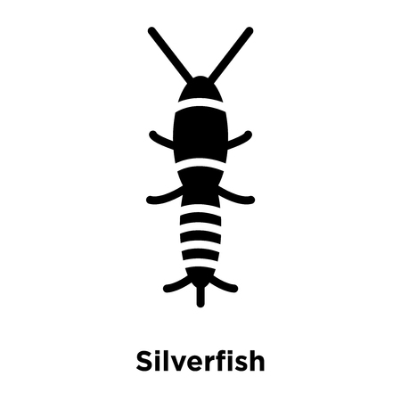 Silverfish icon vector isolated on white background, logo concept of Silverfish sign on transparent background, filled black symbol