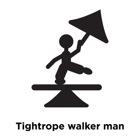 Tightrope walker man icon vector isolated on white background, logo concept of Tightrope walker man sign on transparent background, filled black symbol Vectores