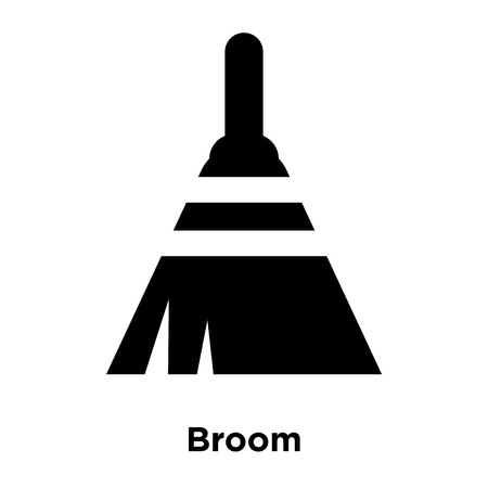 Broom icon vector isolated on white background, logo concept of Broom sign on transparent background, filled black symbol Illustration