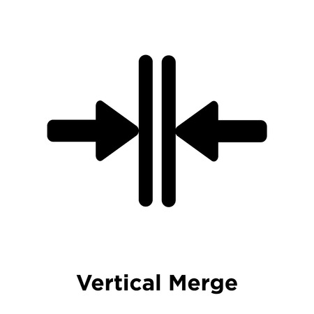 Vertical Merge icon vector isolated on white background, logo concept of Vertical Merge sign on transparent background, filled black symbol