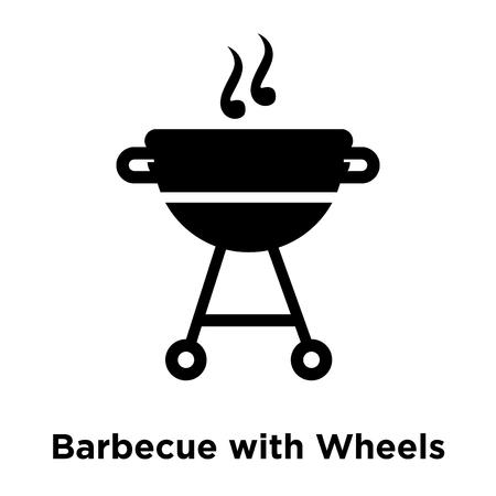 Barbecue avec vecteur d'icône de roues isolé sur fond blanc, notion de logo de Barbecue avec roues signe sur fond transparent, rempli de symbole en noir