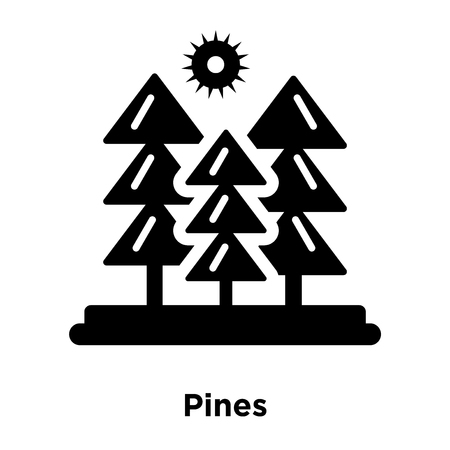 Pines icon vector isolated on white background, logo concept of Pines sign on transparent background, filled black symbol Ilustração