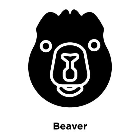 Beaver icon vector isolated on white background, logo concept of Beaver sign on transparent background, filled black symbol Illustration