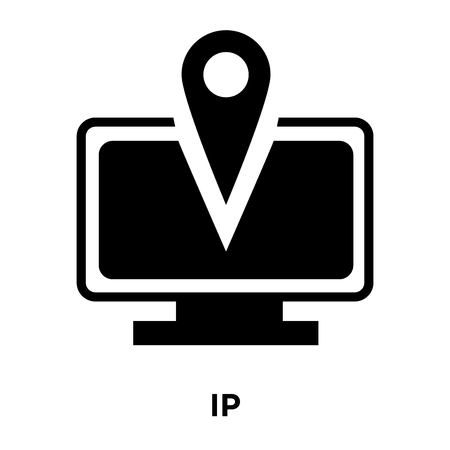 IP icon vector isolated on white background, logo concept of IP sign on transparent background, filled black symbol Illustration