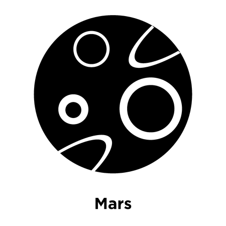 Mars icon vector isolated on white background, logo concept of Mars sign on transparent background, filled black symbol Illustration