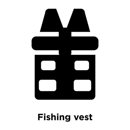 Fishing vest icon vector isolated on white background, logo concept of Fishing vest sign on transparent background, filled black symbol Ilustração